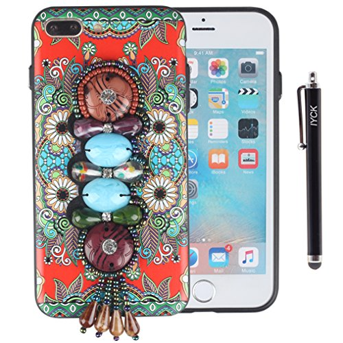- iPhone 8 Plus Case, iPhone 7 Plus Case, iYCK 3D Handmade [Vintage Tassel Knitted Decoration] Hybrid Soft Rubber TPU Bumper and Hard Back Panel Case Cover for iPhone 7/8 Plus 5.5inch - Jade Diamond