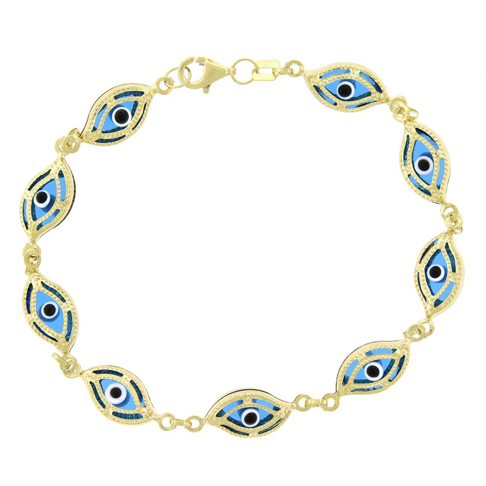 14k Yellow Gold Womens 7mm Clear Baby Blue Fancy Evil Eye Good Luck Charm Bracelet Chain 7.5'' by In Style Designz