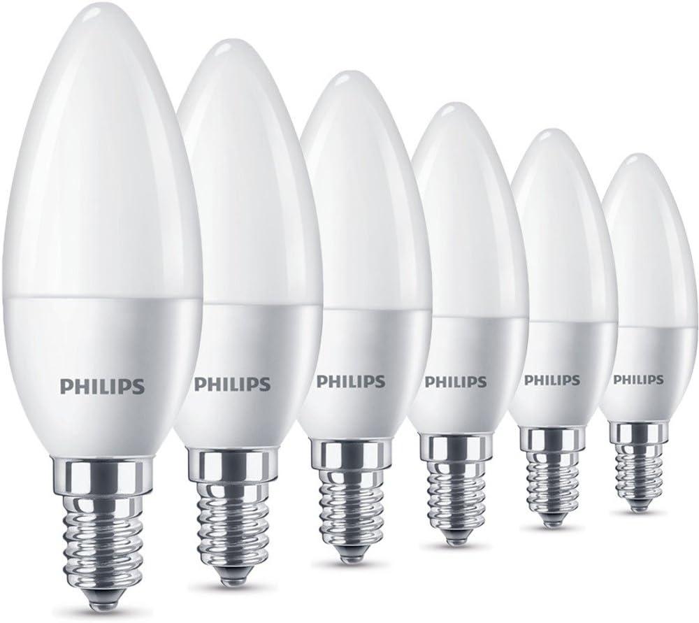 Philips Bombillas LED Vela E14, 5.5 W equivalentes a 40 W en incandescencia, 470 lúmenes, luz blanca cálida, Pack de 6