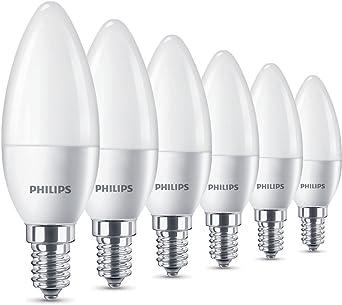 Philips Bombillas LED Vela E14, 5.5 W equivalentes a 40 W en incandescencia, 470 lúmenes, luz blanca cálida, Pack de 6: Amazon.es: Iluminación