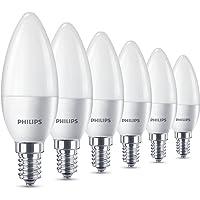 Philips Lampadine LED Oliva, E14, 5.5 W Equivalenti a 40 W, 2700K, Confezione da 6
