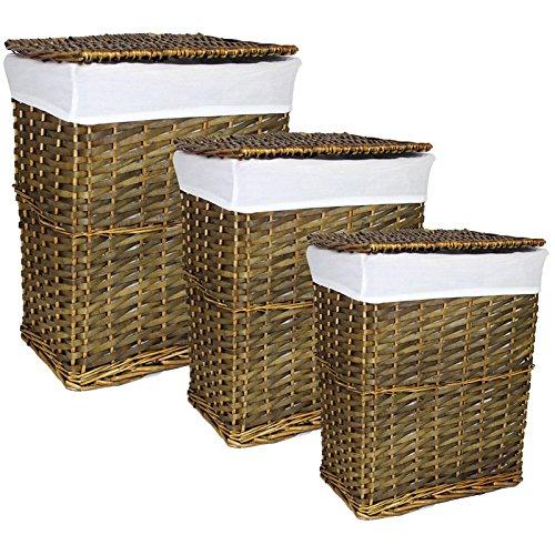 Essential Décor Entrada Collection 3-Piece Rectangle Brown Willow Hamper Set, 22 x 18.25 x 13.25 Inch