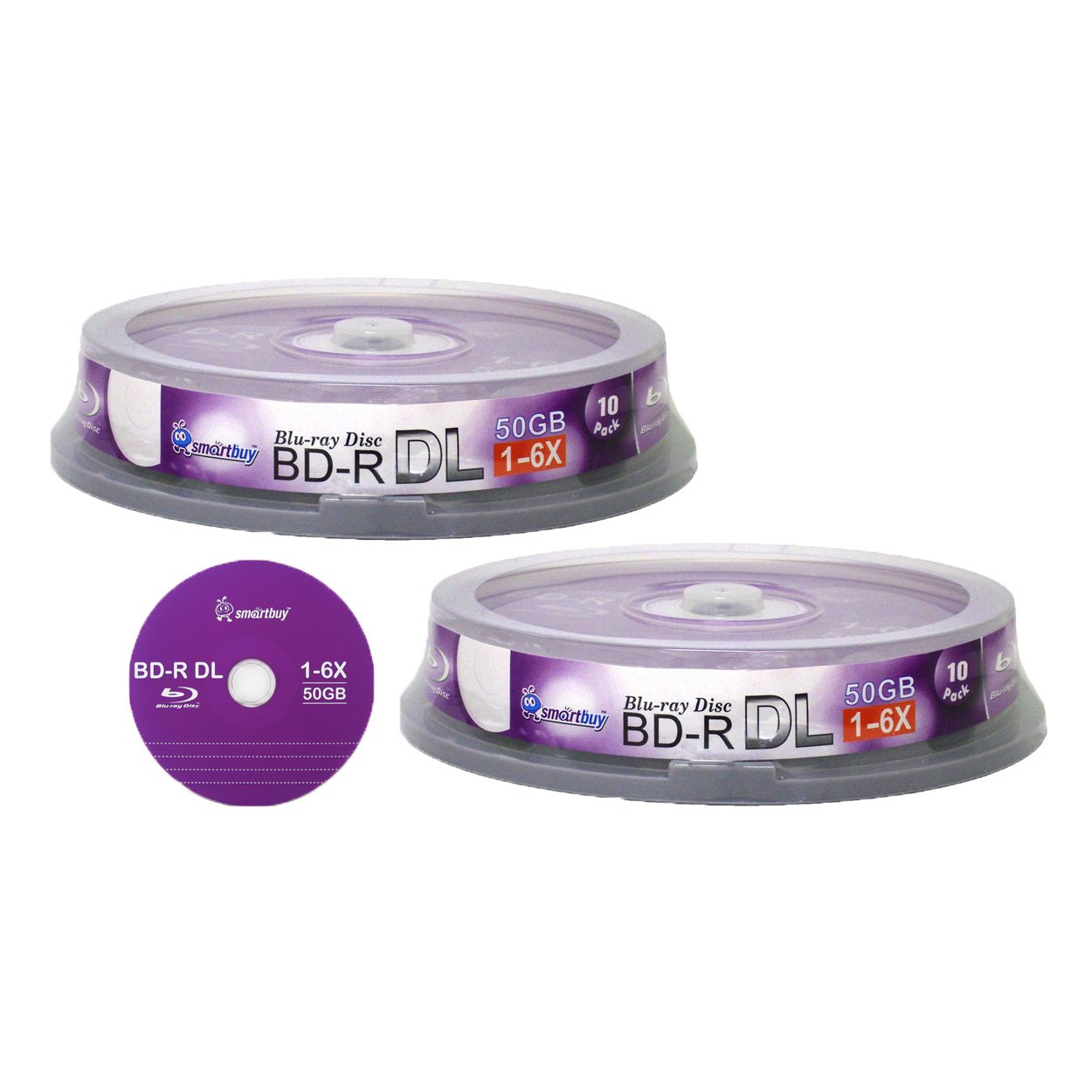 Smart Buy 20 Pack Bd-r Dl 50gb 6x Blu-ray Double Layer Recordable Disc Blank Logo Data Video Media 20-discs Spindle by Smart Buy