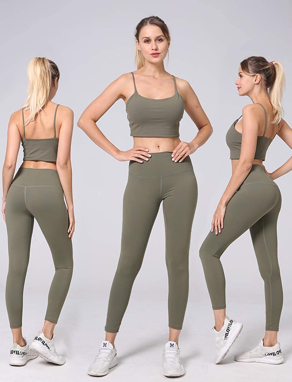 Tummy Control Workout Running Soft Crop Yoga Leggings LicLiz 8 Colors High Waisted Yoga Pants with Pockets for Women