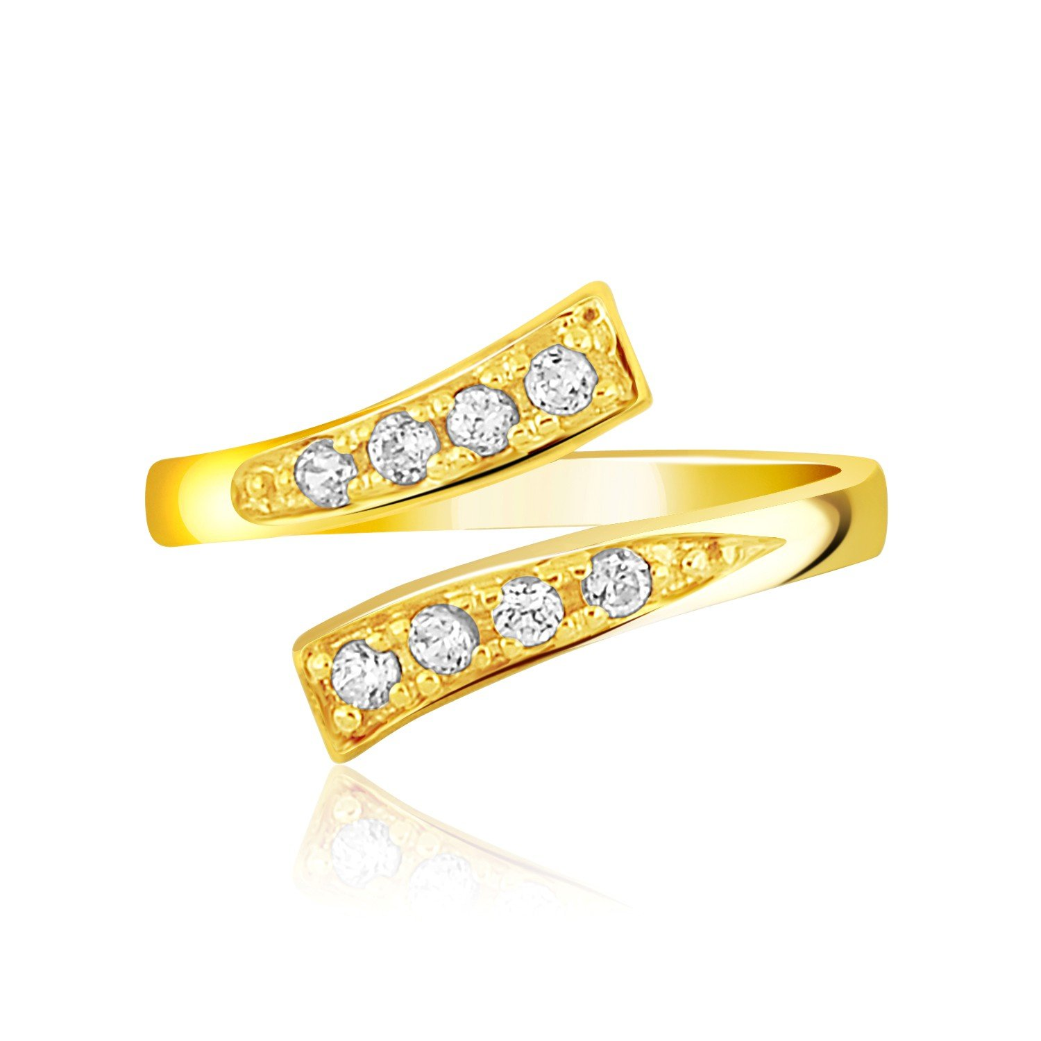 Bunnyberry Gifts 14K Yellow Gold Contemporary Cubic Zirconia Accented Toe Ring