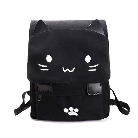 Amazoncom Cute Canvas Cat Print Backpack School Bag Lightweight