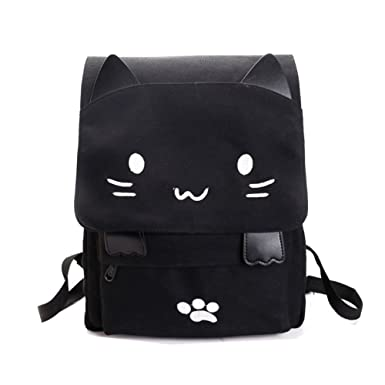 Amazon.com | Cute Canvas Cat Print Backpack School Bag Lightweight ...