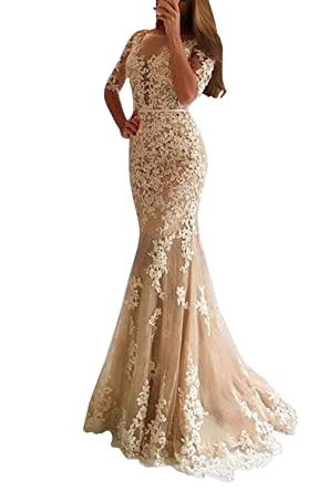 ea38a997337ae Monalia Women's Long Lace Mermaid Wedding Prom Dresses Formal Evening Gown  P050