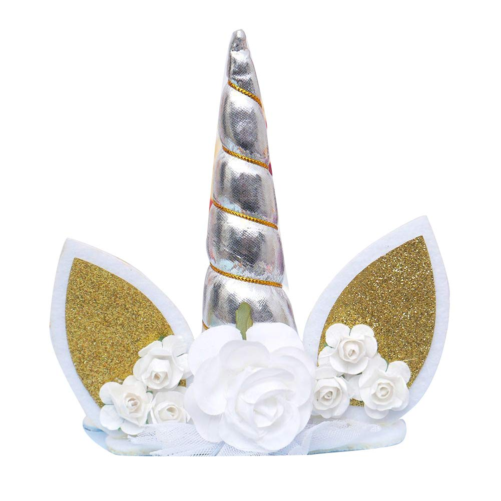 Xiton Set de d/écoration de g/âteau danniversaire de Licorne /à la Main pour la f/ête de Mariage et danniversaire 1pc Argent