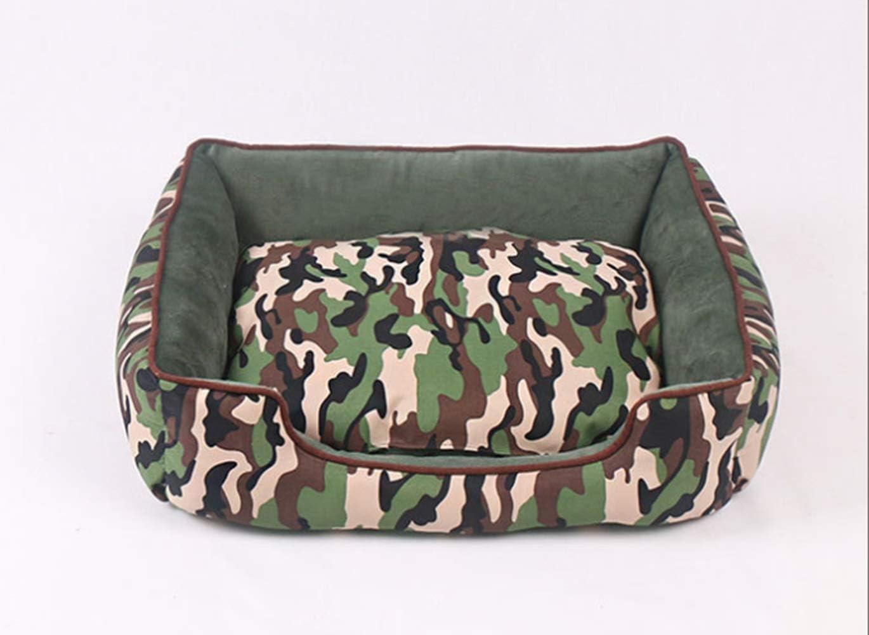 KDXBCAYKI Four Seasons Camouflage Kennel Extraíble y lavable Nido para mascotas sucias con almohadilla tibia Perrera Cama para perros Ortopédica Cama para perros Cubierta extraíbl