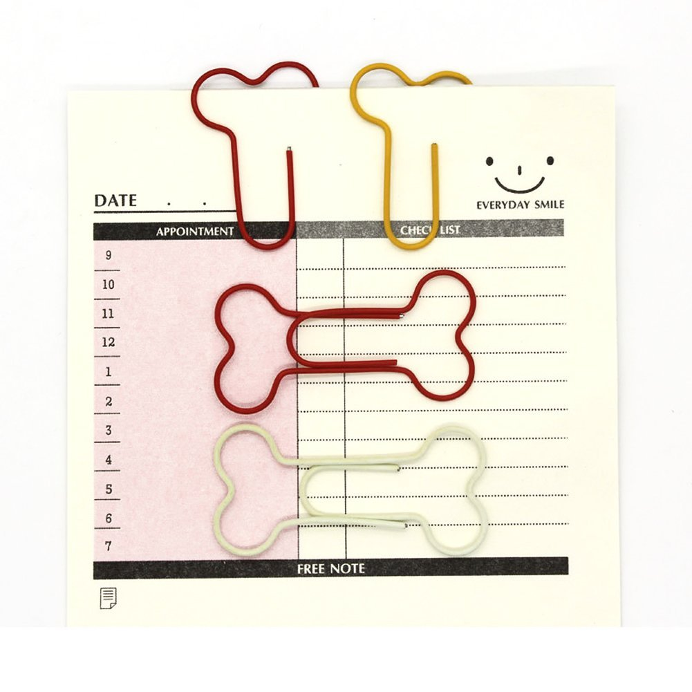 Creative Paperclips Cute Bone Shaped Paper Clamps for Office School, Assorted Color Pack of 100
