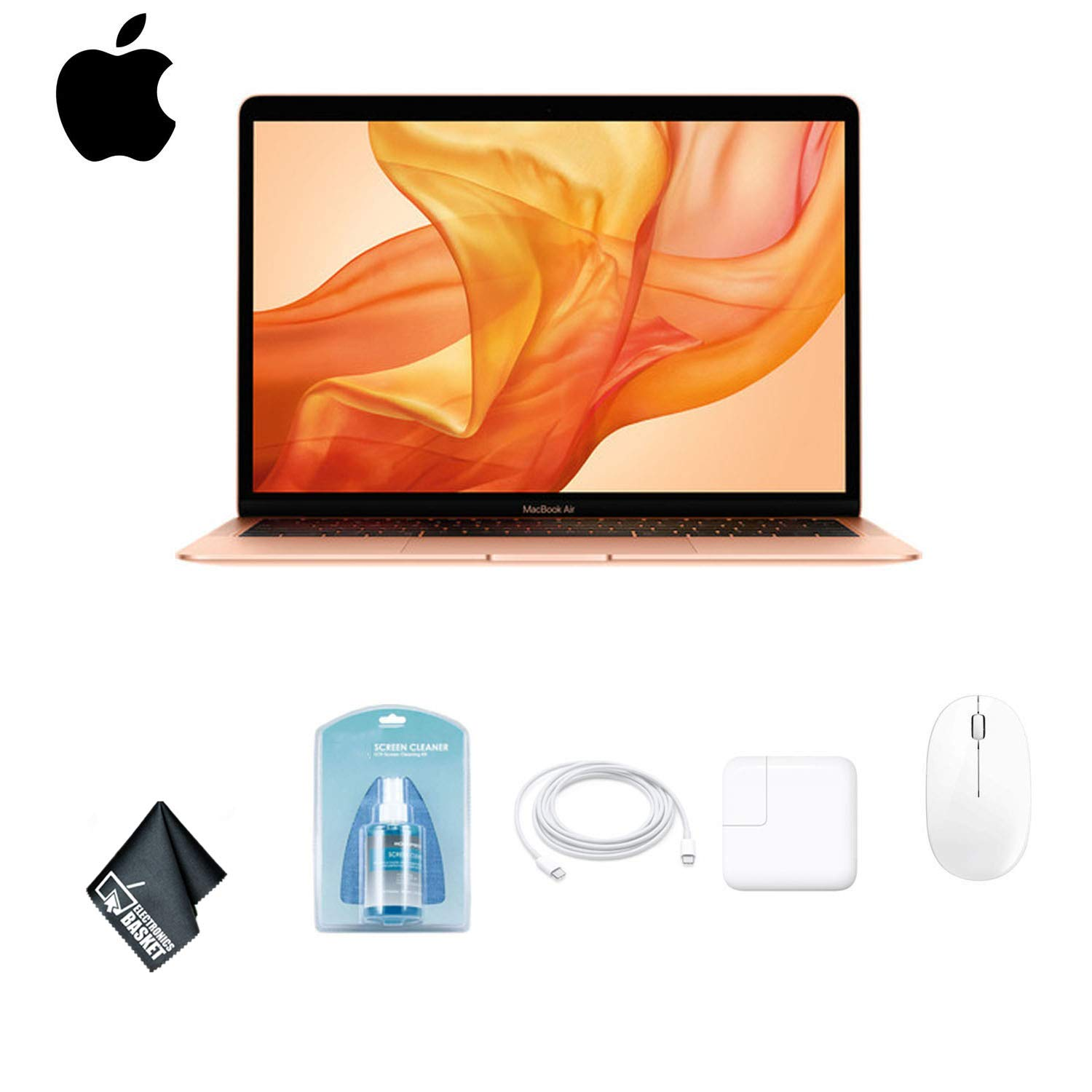 Apple 13.3 Inch Gold MacBook Air Laptop with Retina Display (Latest Model | 2018 Version | Gold) MREA2LL/A 128GB SSD Bundle with Mouse + More
