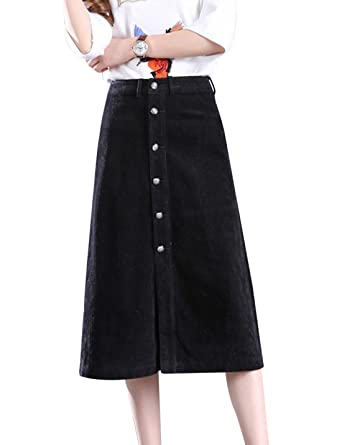 3de8bcff75a Tanming Women s Button Front A-Line Corduroy Long Midi Skirt at Amazon  Women s Clothing store