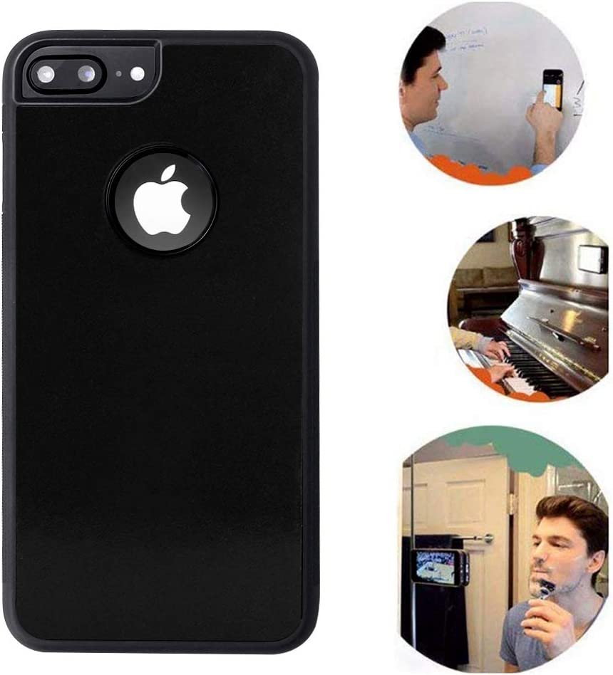 Anti Gravity iPhone 7 Plus Case, iPhone 8 Plus Case, Sticky Selfie Suction Black Anti Gravity Case for iPhone 7P/8P Magic Nano Stick on Smooth Surface Gravity Case with Dust Proof Film