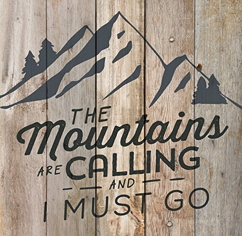 (P. GRAHAM DUNN Mountains Calling Must Go Natural 17.5 x 17 Wood Pallet Wall Plaque)