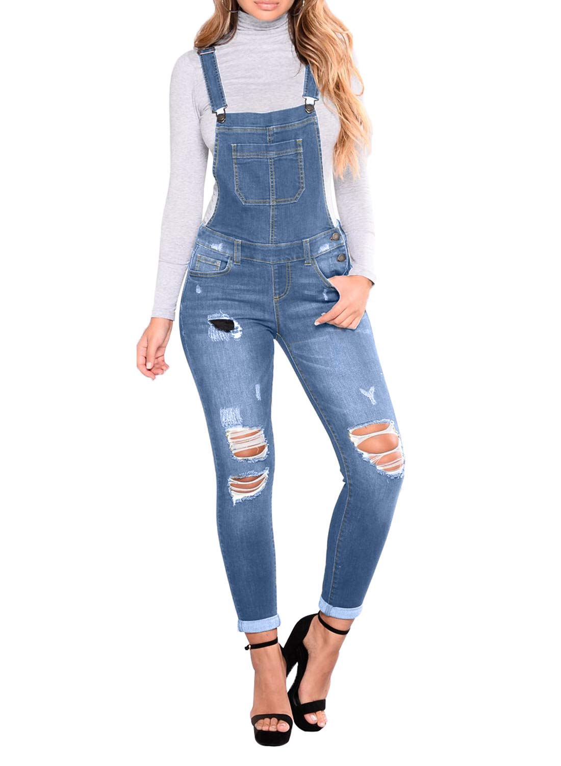 Sidefeel Women Distressed Denim Skinny Jeans Bib Overall Denim Jumpsuit Small Light Blue