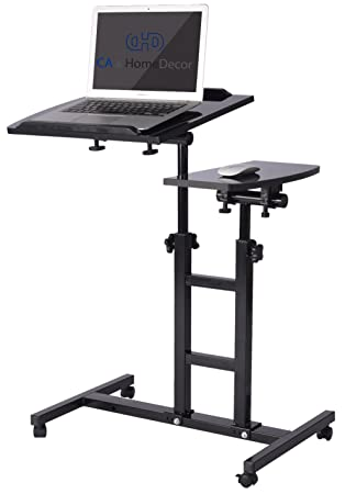CAu0026HomeDecor Height Adjustable Office Desk Rolling Laptop Desk Cart Over  Bed Hospital Table Stand, Black