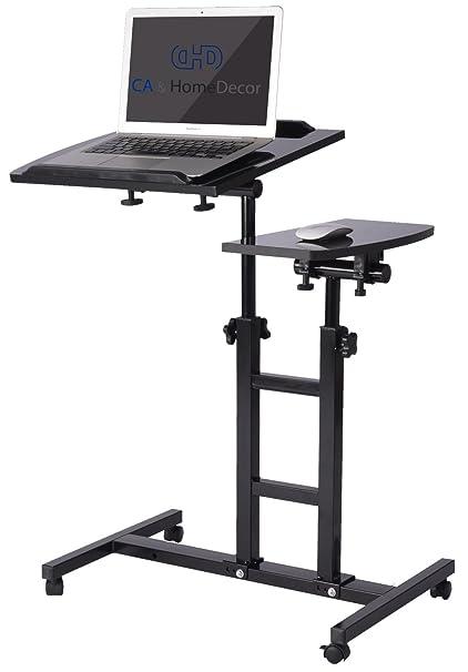 CAu0026HomeDecor Height Adjustable Office Desk Rolling Laptop Desk Cart Over  Bed Hospital Table Stand, Black