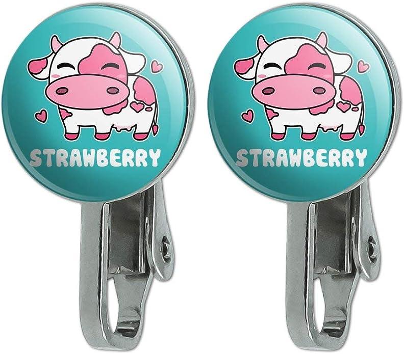 cute resin strawberry  milk chocolate earrings