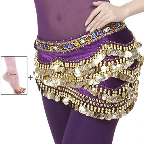 Mutreso Belly Dance Hip Scarf with 328 Gold Coins 150cm Colorful Gem Belt Profession Velvet Performance Skirt Hip Wrap (Sexy Belly Dance Costumes)