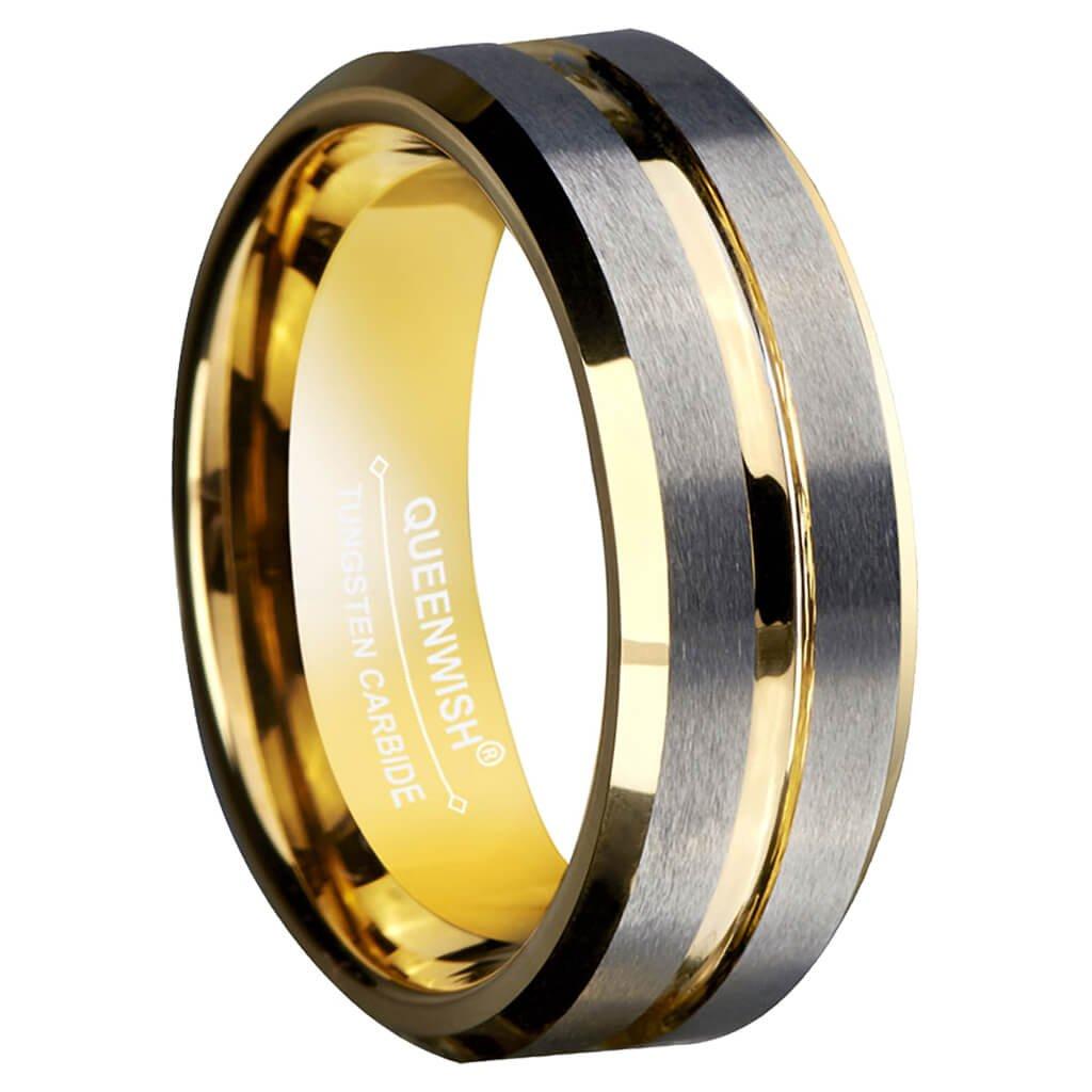 Queen Wish 8mm Oro Tungsteno Anelli Argento spazzolato matrimonio Anelli di fidanzamento anelli Comfort Fit Matrimonio Anello Uomo Gioielli Queenwish QWTURA-8273000
