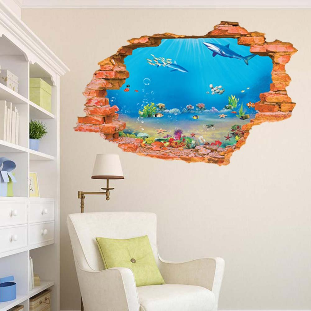"BIBITIME Tropical Fish Shark Break Through Wall Stickers Home Art 3D Underwater World Wall Decal Vinyl Decor for Nursery Bedroom 34.25"" x 22.04"""