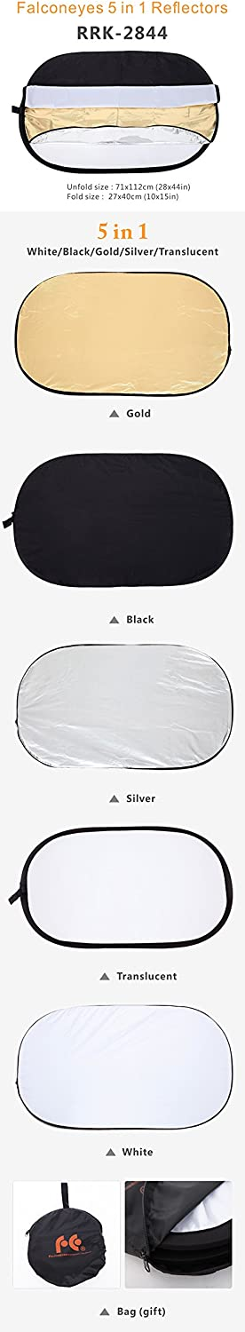 Falcon Eyes 28x 44 71x112cm 5 in 1 Portable Collapsible Oval Light Photography Reflector for Studio Multi Photo Disc RRK-2844