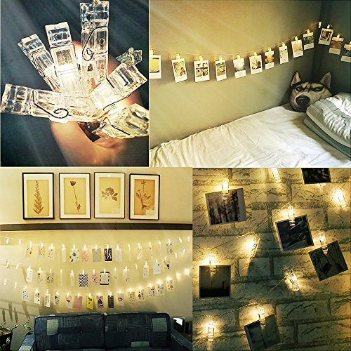 Alyattes Photo Clips String Lights Christmas Lights Starry Light Wall Decoration Light for Hanging Photos Paintings Pictures Card and Memos, Battery Powered (40 LED Warm White) by Alyattes (Image #4)