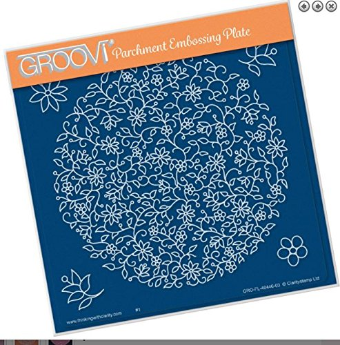 - Groovi Parchment Embossing Plate - Floral Moon A5 Template - Laser Etched Acrylic for Parchment Craft