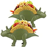 Dinosaur Taco Holder, HapWay 2 Pack Plastic Novelty Dino Taco Holder for Kids, Fun Triceratops Taco Stand Shell Holder for Taco Tuesday or Lunch Sandwiches