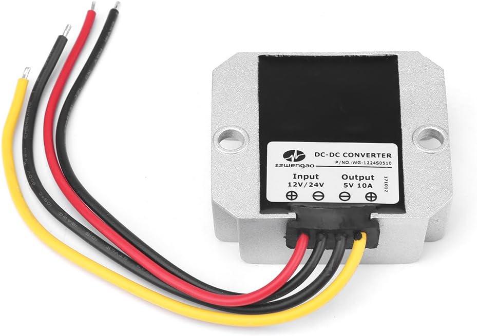 Convertidor DC-DC, DC12V / 24V a 5V Convertidor reductor inversor de energía Inversor de voltaje 10A 50W Adaptador convertidor de voltaje