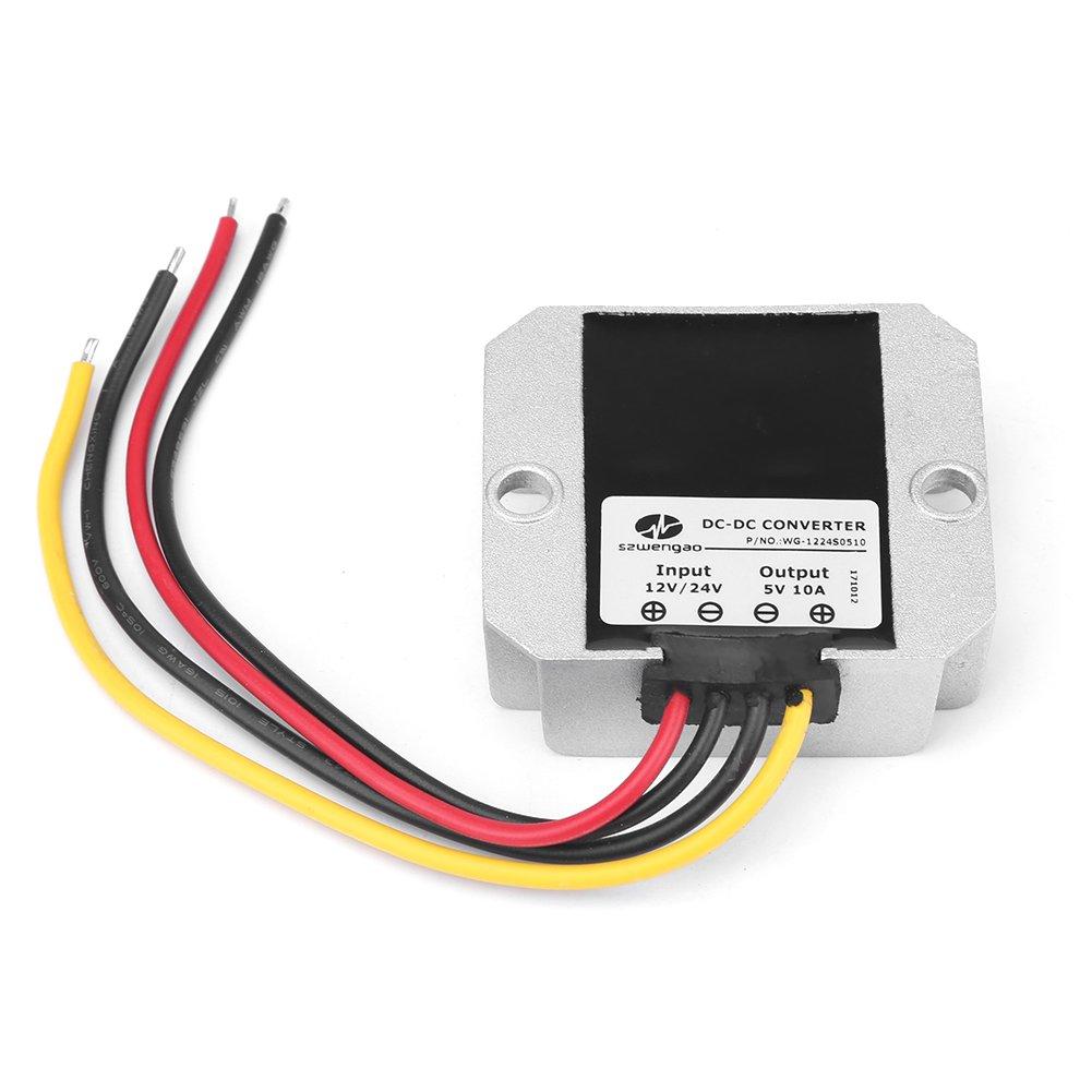 DC12V 24V a 5V 10A 50W IP68 Impermeable Convertidor reductor Buck Regulador de Voltaje M/ódulo para Veh/ículo Cami/ón Autom/óvil