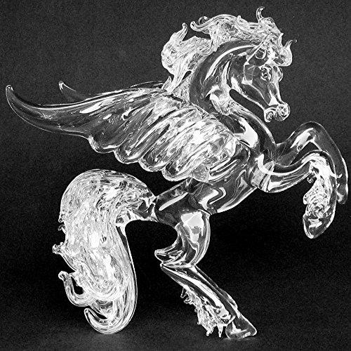 Pegasus Figurine of Hand Blown Glass Crystal Sculpture Rearing (Crystal Pegasus)