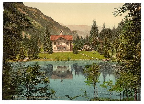 10 x 14 Antique Photochrome Image of: c. 1890 - 1906 Kander Valley, Blausee, and pension, Bernese Oberland, Switzerland Professionally Reprinted c157