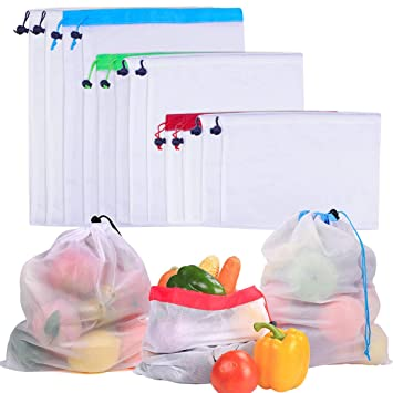 SelfTek Bolsas de malla reutilizables Bolsas de almacenamiento lavables de 2 estilos 3 Bolsas de malla respetuosas con el medio ambiente diferentes ...