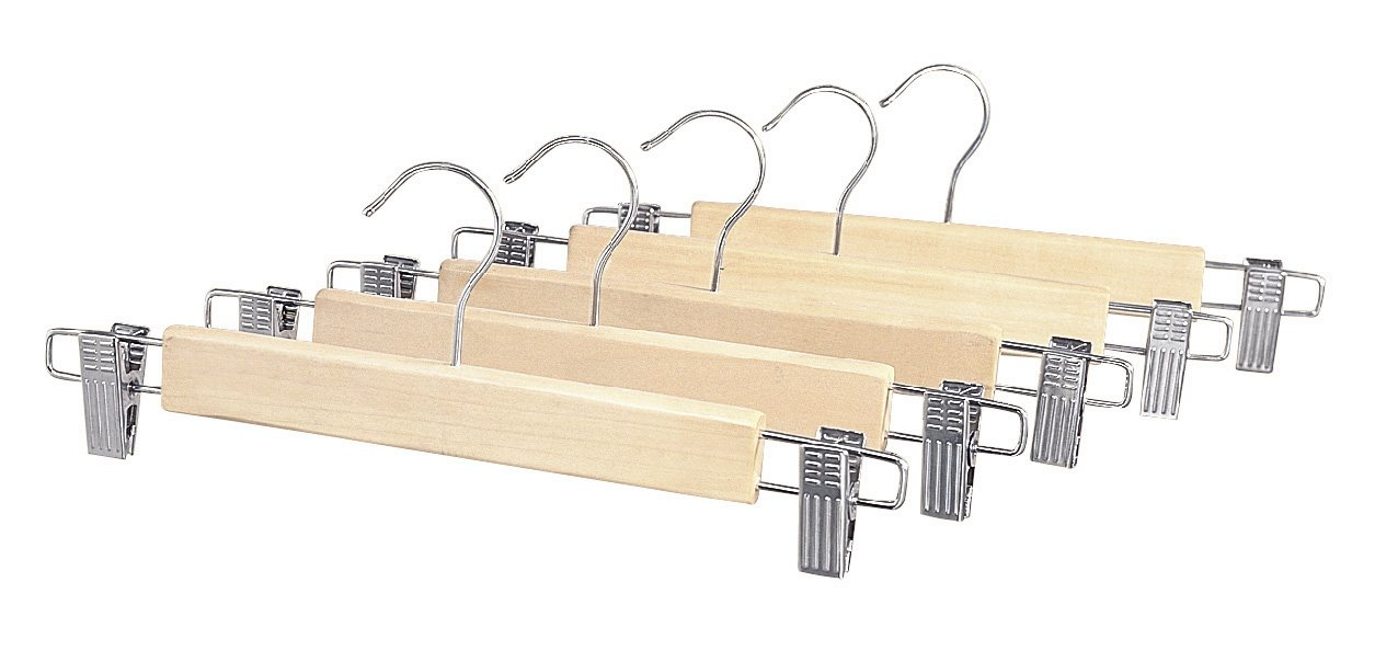 Whitmor 6026-341 Natural Wood Collection Skirt Hangers, Set of 5