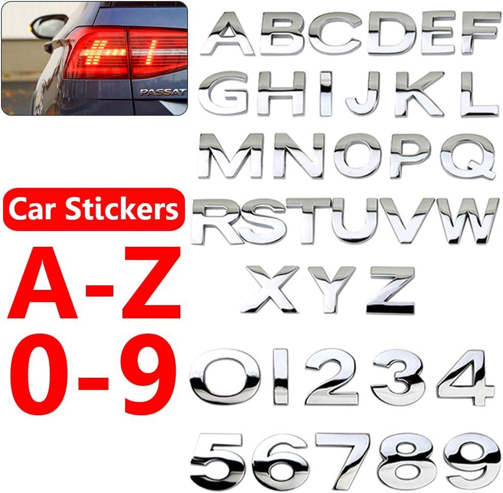 A-Z /& 0-9, Silver UTUT Car Decals 36Pcs Number Letter Self-Adhesive Auto Sticker Badge Emblem Decoration