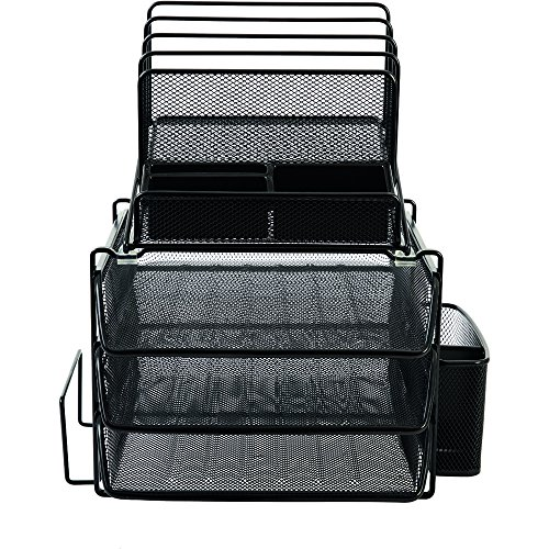Staples All In One Black Wire Mesh Desk Organizer Office