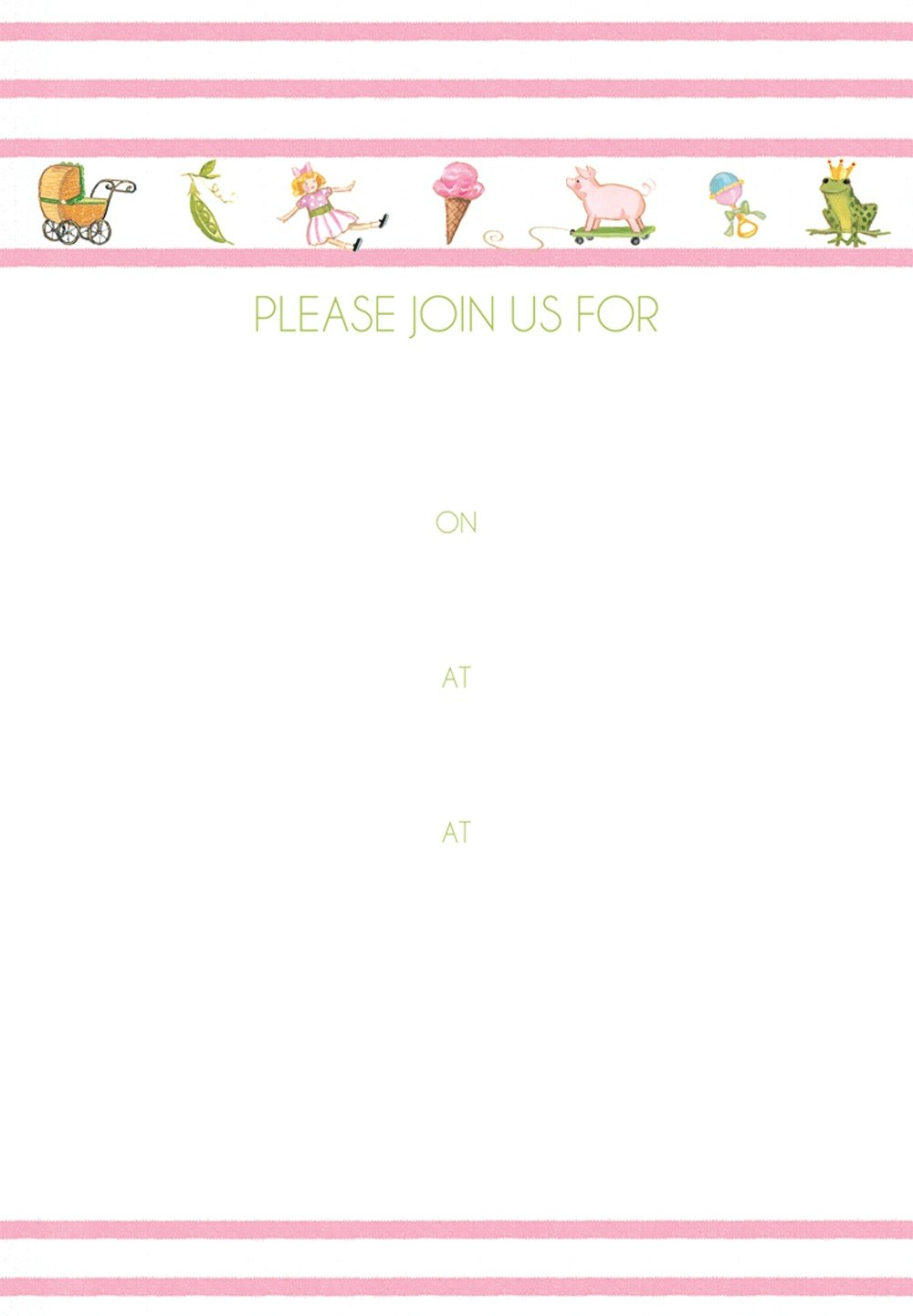 Entertaining with Caspari Bebe Girl Fill in Invitations with Envelopes Pack of 8