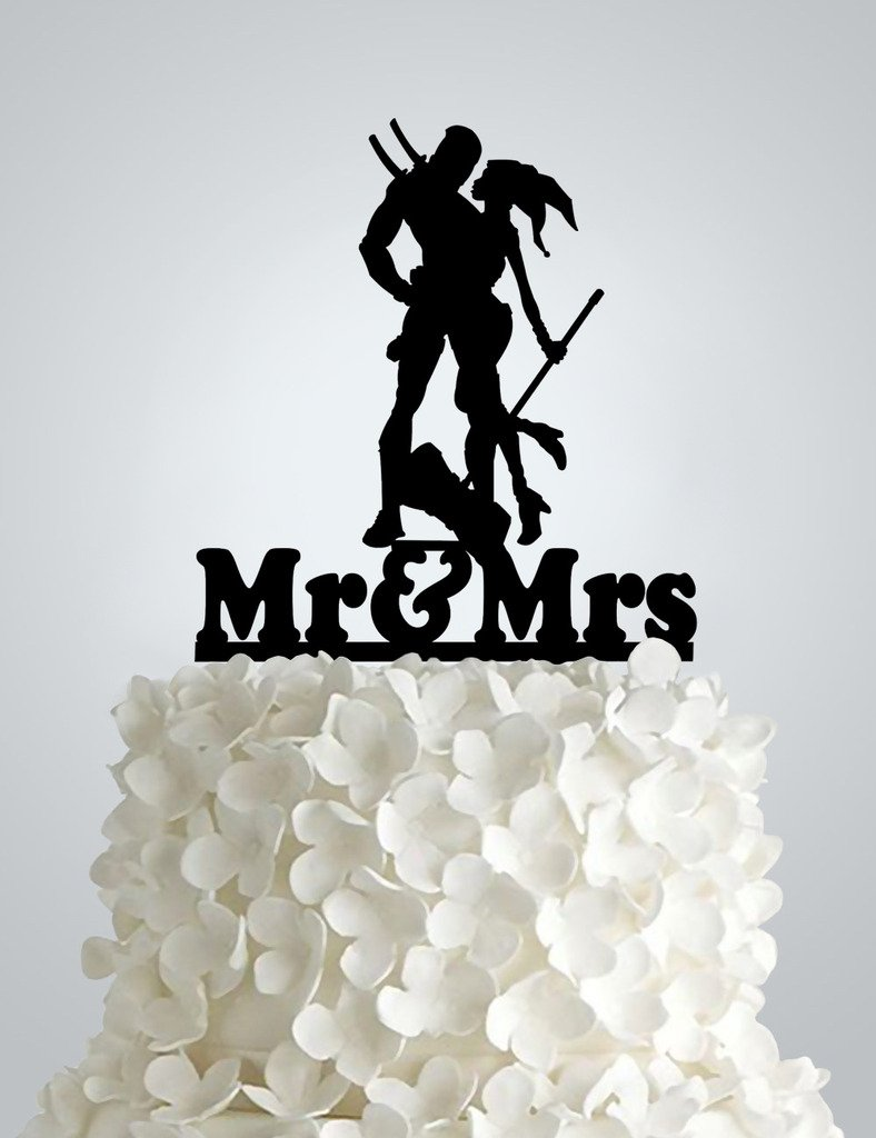 Acrylic Wedding cake Topper - Harley Quinn & Deadpool