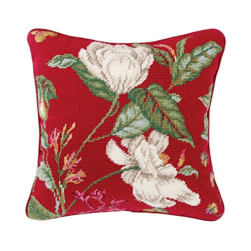 (C&F Home Double Magnolia Needlepoint Pillow 14 x 14 Red )