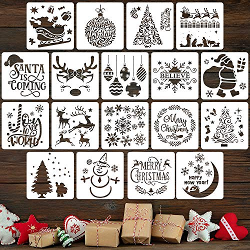 18 Pieces Christmas Stencils Reusable Plastic Craft Xmas Painting Stencils for Journal Template, Wood, Rocks and Walls Art, Christmas Gift Card DIY Projects (Lettering Christmas Stencils)
