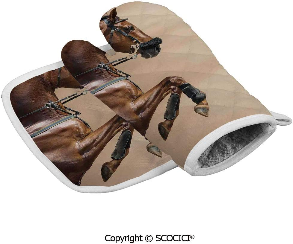 SCOCICI Oven Glove Microwave Glove Chestnut Color Horse Jumping in Hackamore Life Force Power Love Sign Barbecue Glove Kitchen Cooking Bake Heat Resistant Glove Combination