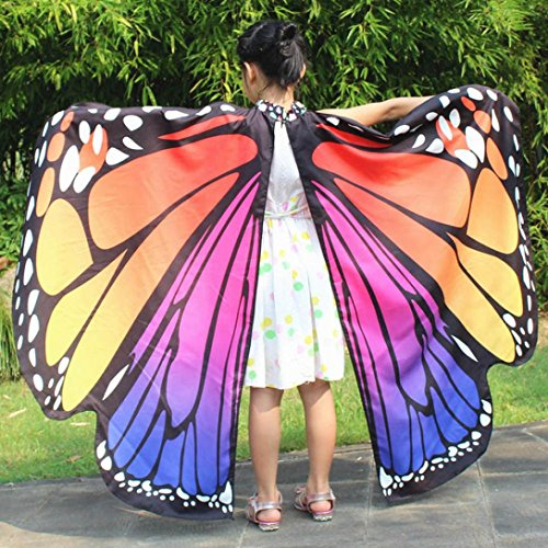 Magic Carpet Costume Video (Livoty Kid Baby Girl Butterfly Wings Shawl Scarves Nymph Pixie Poncho Costume Accessory (Hot Pink))