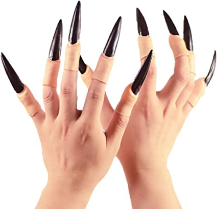 10pcs Adult Fake Fingers Witch Nail Set Cover Horror Halloween Costume Prop