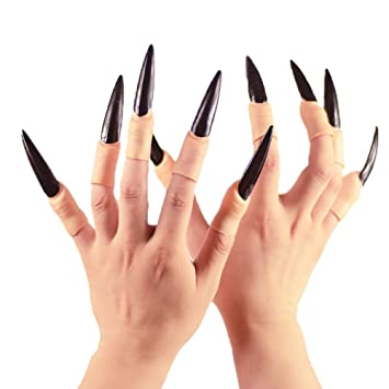 MARTIAN FINGERS WITCH FINGERS CREEPY COSTUME FINGERS LOT OF 10 LONG RED NAILS