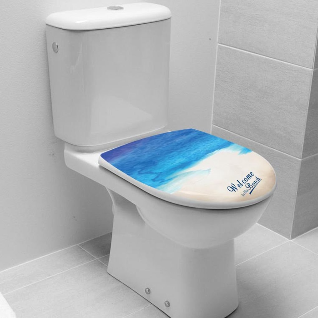 Laileya Belle Mer Plage WC Imprim/é Autocollant Pi/édestal Pan Couverture Toilettes Tabouret Home D/écor Commode