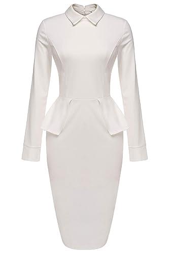 Meaneor Women Party Tunic Sheath Peplum Wear to Work Business Bodycon Dress