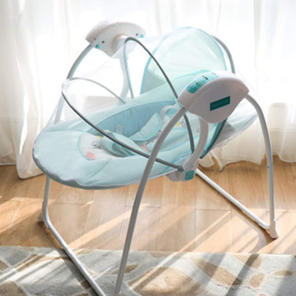 Y-BBouncer Baby Electric Rocking Chair Cradle Newborn Sleepy Recliner Comfort Chair Shaker 5 Stalls Slow Rocking Chair Adjustable Washable,Blue by Y-BBouncer
