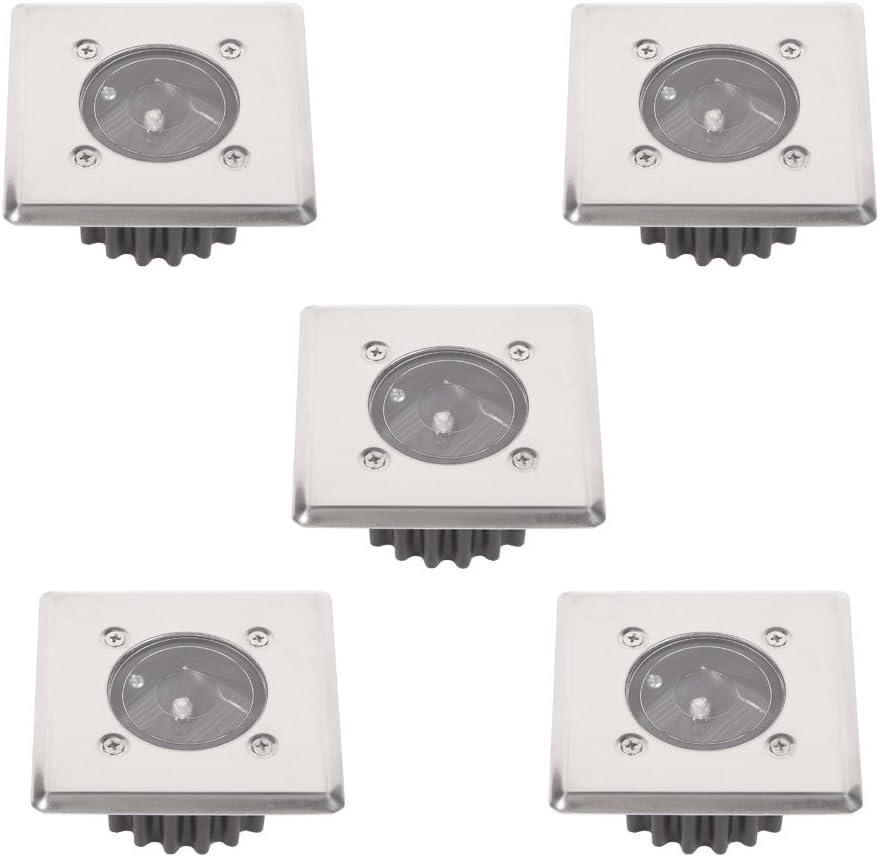 5x Einbauleuchten Mc Shine Solar Lampen Solarleuchten eckig 8,5x8,5cm trittfest Edelstahlfront LED-Solar Bodeneinbauleuchte 5er Set Boden-Einbaulampen IP44
